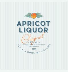 Ripe apricot liquor label packaging design vector