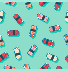 seamless pattern sushi green vector image