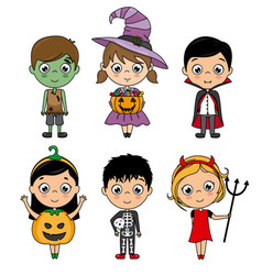 set kids costumes halloween vector image