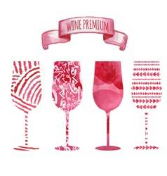 Set of art watercolor wine glass vector