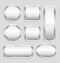set of glossy metal button in different shapes vector image