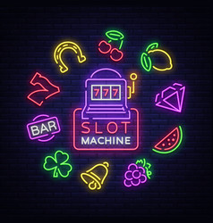 Slot machine is a neon sign collection of neon vector