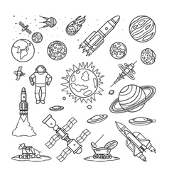 Space doodle linear icons vector image