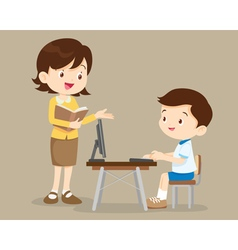 Teacher and student boy learning computer vector