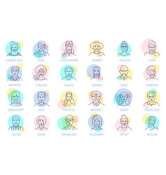 thin line online people icon set vector image