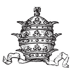 Tiara have a popes mitre with its triple crown vector