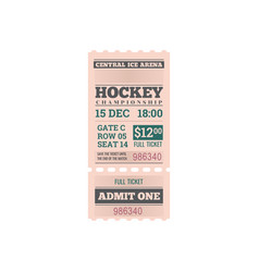 Ticket ice hockey tournament championship isolated vector