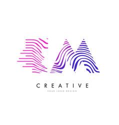 Tm t m zebra lines letter logo design with vector