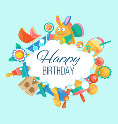 toy set for baby birthday card banner vector image