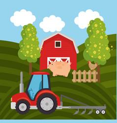 Tractor in the farm scene vector