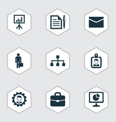 Trade icons set with hierarchy statistics vector