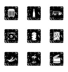 Trash icons set grunge style vector image