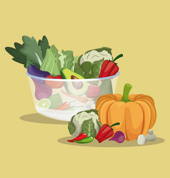 Vegetables fresh ingredients healthy vector