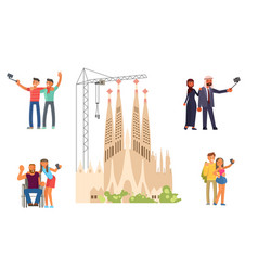 Voyage around europe people and sagrada familia vector