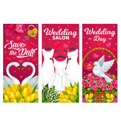 wedding marriage banners bridal dress vector image