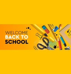 welcome back to school horizontal banner first vector image