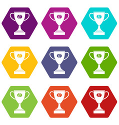 winner cup icon set color hexahedron vector image