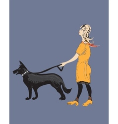 Woman a dog vector