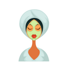 Woman in bathrobe with towel on head and healing vector