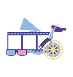 Woman with strip reel 3d glasses production movie vector
