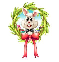 A border with a bunny and a big ribbon vector image vector image