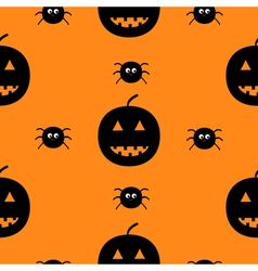 Black silhouette funny smiling pumpkins and spider vector