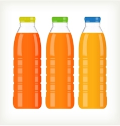 Bottles with juice isolated on white vector image vector image