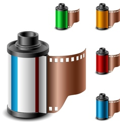 Camera film roll set vector image vector image