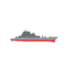 colored military warship with radar and guns fixed vector image