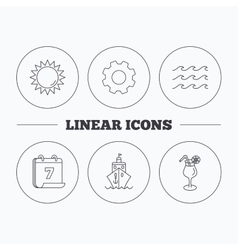 Cruise waves and cocktail icons vector image