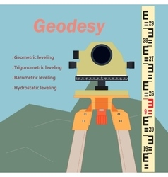 Geodesy-leveling and levelling rejka vector image vector image