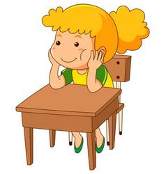 girl sitting on wooden desk vector image vector image