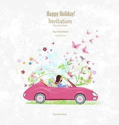 Invitation card with pretty girl in pink vector image vector image