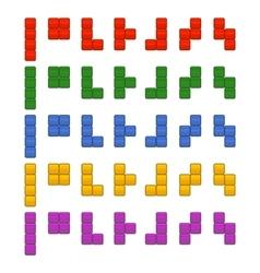 Tetris bricks pieces total set for game vector