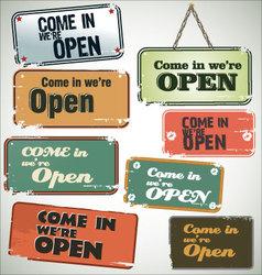 Vintage grunge sign Open vector image