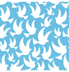 White dove in the blue air seamless pattern eps10 vector