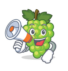 with megaphone green grapes character cartoon vector image