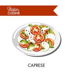 caprese italian cuisine mozzarella cheese and vector image
