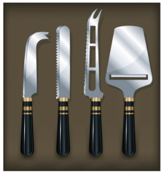cheese knife on brawn vector image vector image