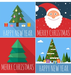 Flat design Christmas card set vector image vector image