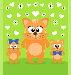Mothers day background card with cats vector