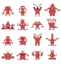 Set of flat moster icons8 vector image