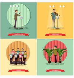 set of orchestra concept posters in flat vector image vector image