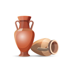 Amphora Vases Isolated Clay Jars Egyptian Style vector image vector image