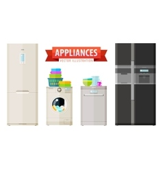 Appliances icons set of elements - refrigerator vector
