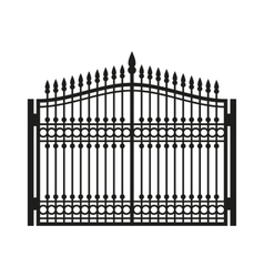 Fence Wrought Iron Gate Old Style Door vector image