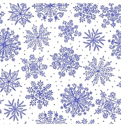 Hand drawn snowflakes Seamless pattern vector image