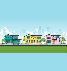 house in the city vector image