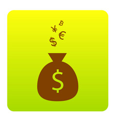 money bag sign with currency symbols vector image vector image