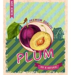 Plum retro poster vector image vector image